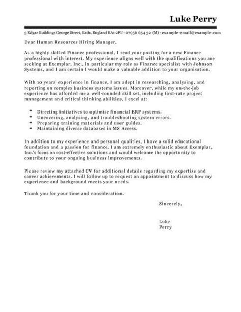 Application Letter For Finance Assistant