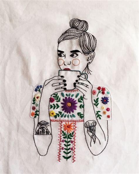 stitches illustration feminist illustration embroidery stitches