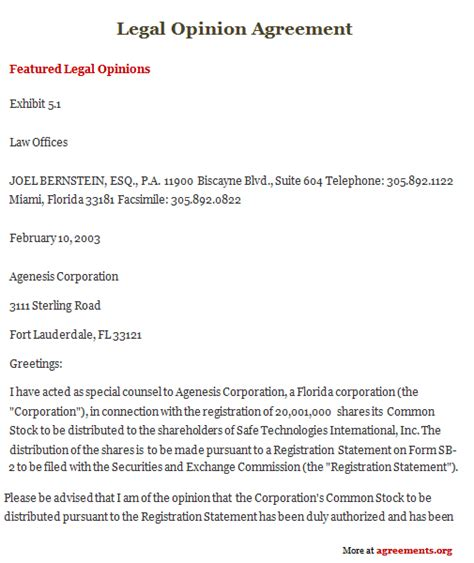 legal opinion agreement sle legal opinion agreement