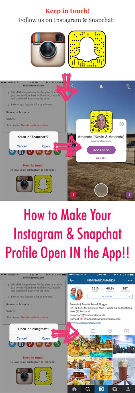make your instagram and snapchat profile open in the app