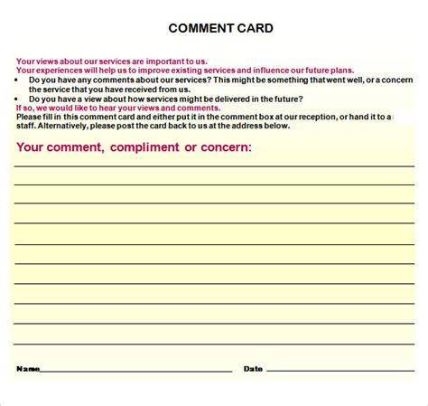 customer comment card template custom card template 187 customer comment card template