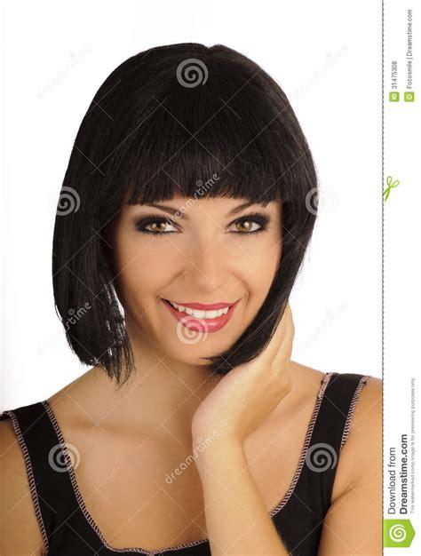 beautiful girl bob bob hairstyle stock photo image of pale bangs lipstick