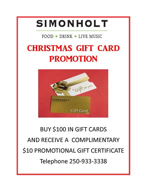 Gift Card Promotion - christmas gift card promotion simonholt restaurant food drink live music