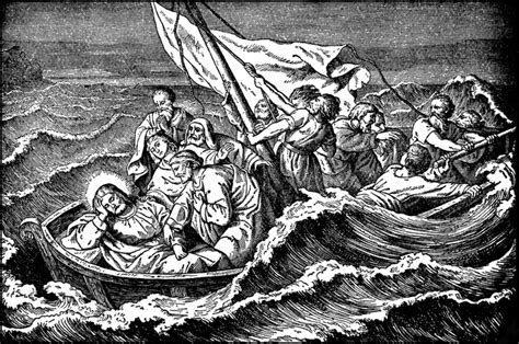 bow of his boat jesus sleeps through a storm at sea clipart etc