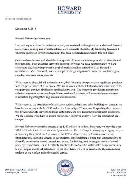 Howard Acceptance Letter 2014 After Howard Complaints Go Viral The College