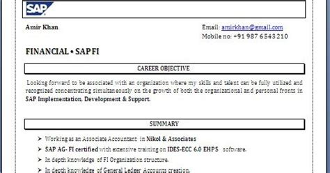 Abap Fresher Resume Format by Sap Fico Freshers Resume Format Resume Ideas