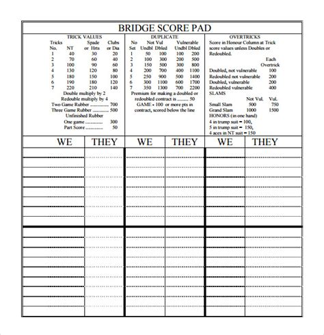 bridge score card template 8 sle bridge score sheets sle templates