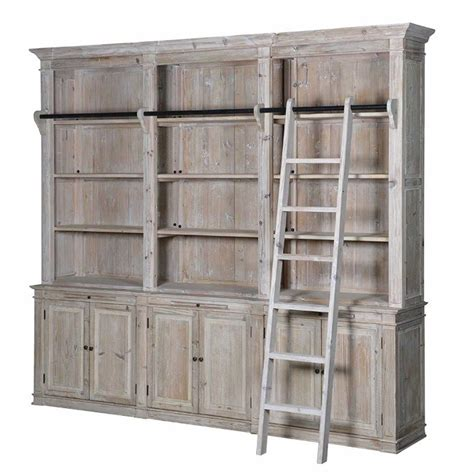 Rustic Ladder Bookcase Rustic Reclaimed 6 Door Pine Bookcase With Ladder