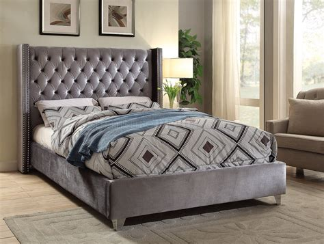 aiden bed  grey velvet fabric  meridian woptions