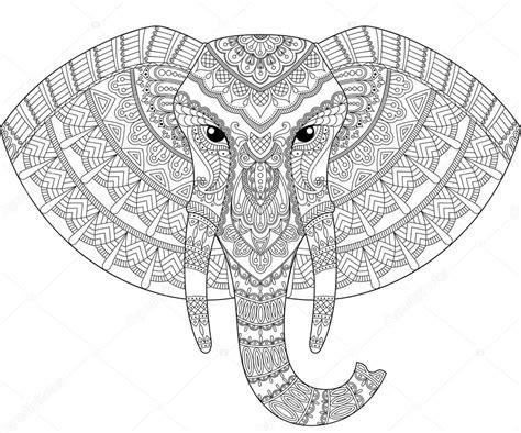 Sloní hlava v zentangle stylu. Pro dosp?lé antistresové