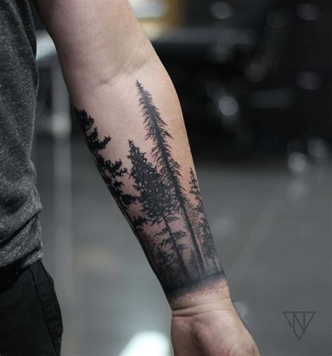 fore arm tattoo forest cuff tattoos tree