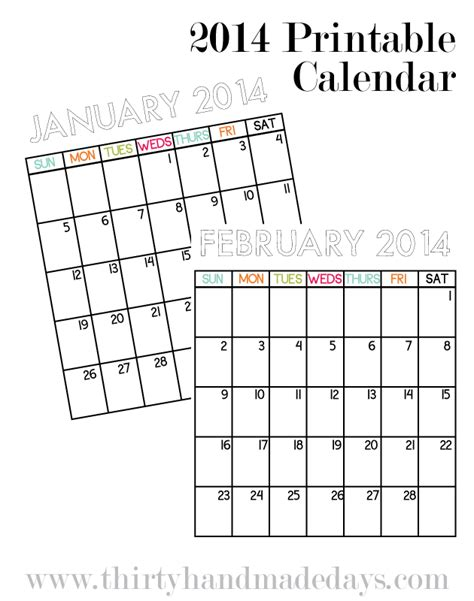 simple calendar template 2014 free printable 2014 calendars paper crush