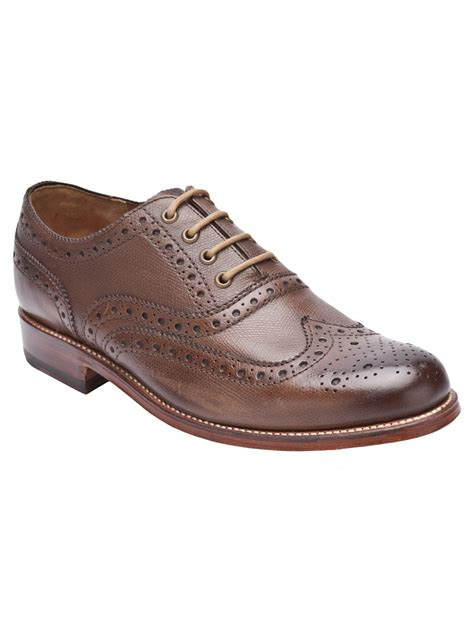 brown oxford shoes with grenson william wingtip oxford shoe in brown for lyst