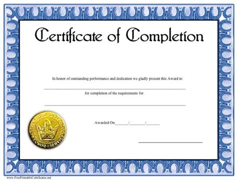 this blue bordered certificate of completion includes a