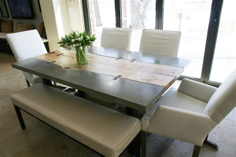 Concrete Dining Room Table by Inboundthread Decor Wood Concrete Dining Table