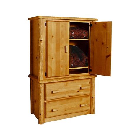 2 drawer armoire pine log collection two drawer armoire log028