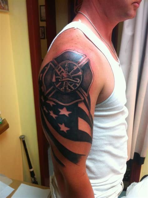 firefighter maltese cross tattoos american flag fighter shield tattooed from