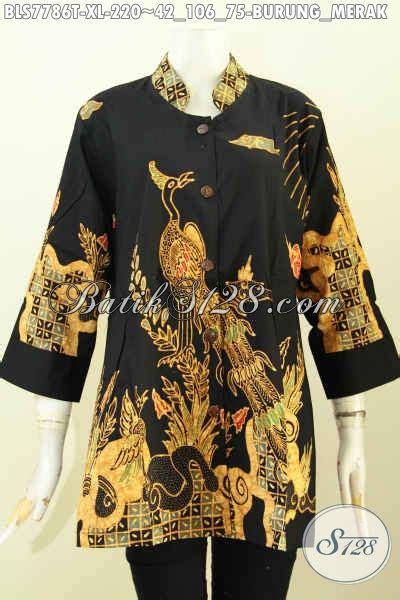 Blus Batik Merak baju blus modern kerah shanghai pakaian batik kerja