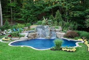 backyard pool natural backyard swimming pool waterfall design bergen county nj contemporary pool new