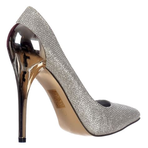 Heels Black List Gold shoekandi mid heel glitter shoes gold heel detail gold silver black shoekandi from