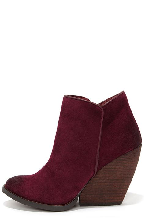 chagne colored wedges suede booties wedge booties burgundy booties 84 00