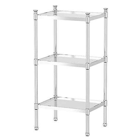 Glass Bathroom Shelving Unit Gatco Taboret 3 Tier Glass And Metal Shelving Unit Bed Bath Beyond