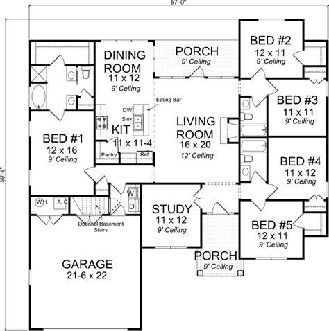 5 bedroom one story house plans craftsman style house plans 1988 square foot home 1 story 5 bedroom and 3 bath 2 garage