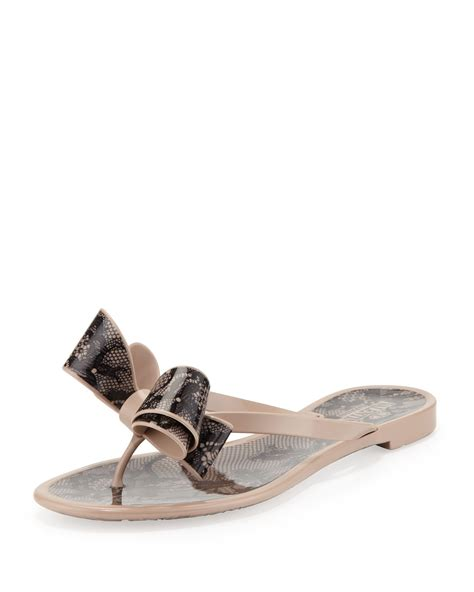 bow sandals valentino laceprint bow jelly sandal poudreblack in