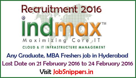 Hr In Bangalore For Mba Freshers 2016 by Any Graduate Mba Freshers In Hyderabad On 21 February