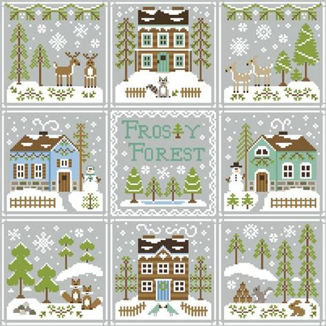 winter welcome country cottage needleworks i cross stitch pinterest cottages country frosty forest project of the month club the patchwork rabbit