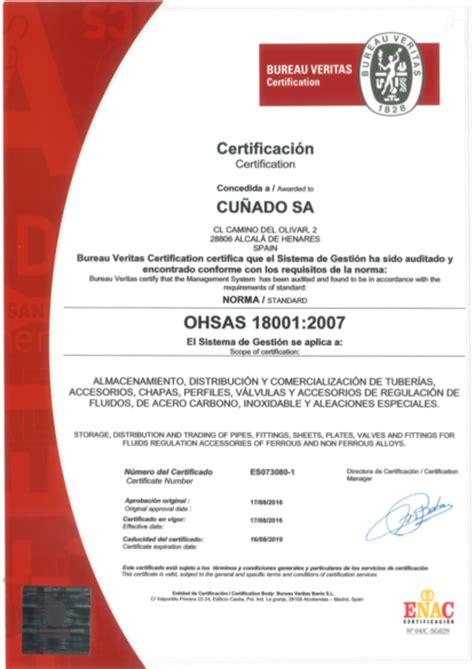 grupo cunado grupo cu 241 ado obtained the ohsas 18001 certification