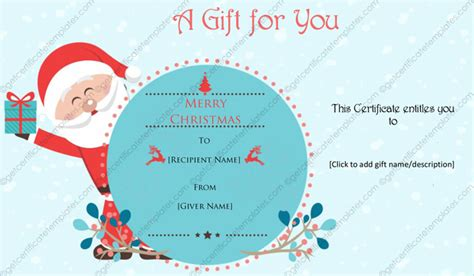 merry gift certificate templates jovial santa gift certificate template
