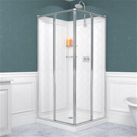 Shower Door Kits Dreamline Cornerview 36 In X 76 3 4 In Corner Sliding Shower Door In Chrome With Shower Base