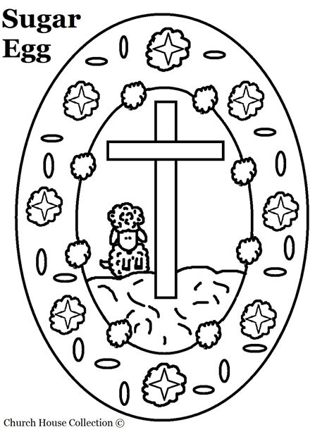 free printable easter coloring pages for sunday school sugar egg with sheep and cross coloring page