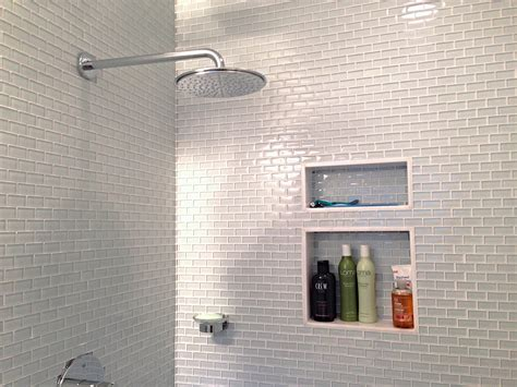White Gloss Subway Tiles With Wall Chrome Swivel Hanger Bathroom Tile Accessories