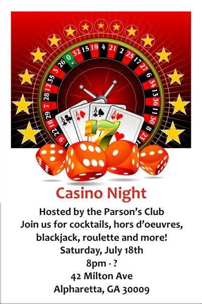 Casino Night Invitation Personalized Party Invites Casino Invitation Template Free