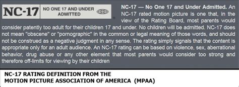 blue nc 17 ptc calls on nyc theater to enforce nc 17 rating for