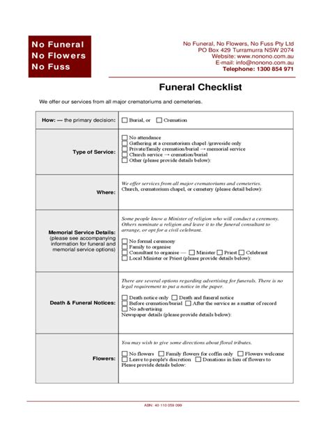 Funeral Checklist Template 2 Free Templates In Pdf Word Excel Download Funeral Checklist Template