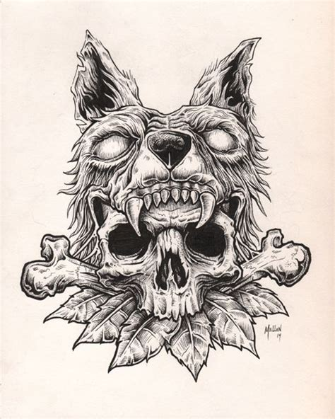 wolf skull tattoo wolf skull illustration search illustration