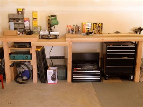 7 garage organization ideas split the tower toolbox and store underneath bench also sawhorse trashcan garage