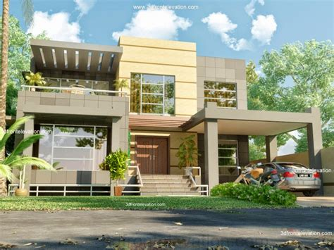 2 beautiful modern contemporary home elevations 3d front elevation com february 2012