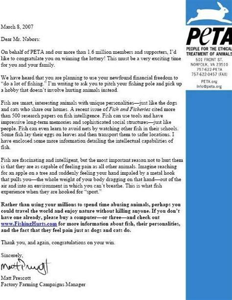 Divorce Letter Wins Lotto Peta To Lottery Winner Peta S Peta