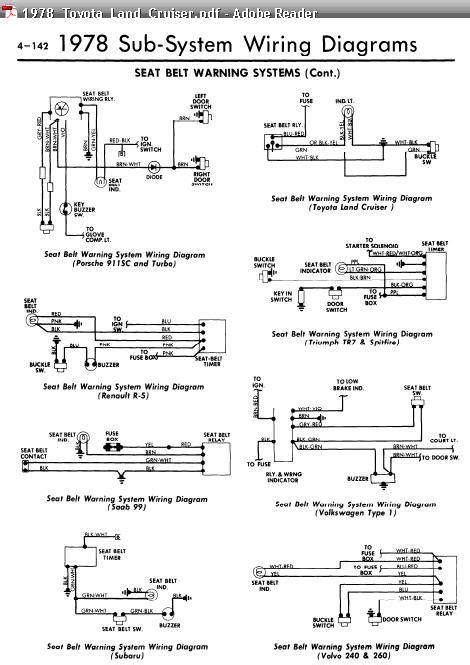 repair-manuals: All Models 1978 Seat Belt Warning Wiring