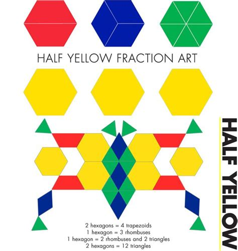 art using pattern blocks e is for explore half yellow fraction art math art