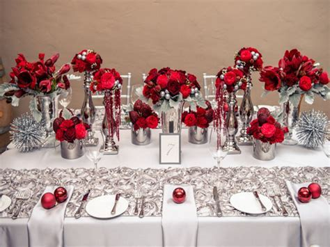 Black table setting ideas, red white and silver wedding