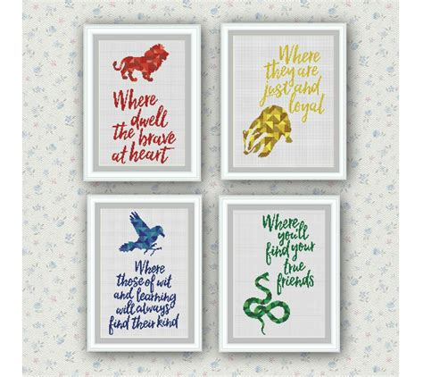cross stitch pattern free quotes set of 4 quotes hogwarts houses cross stitch pattern harry
