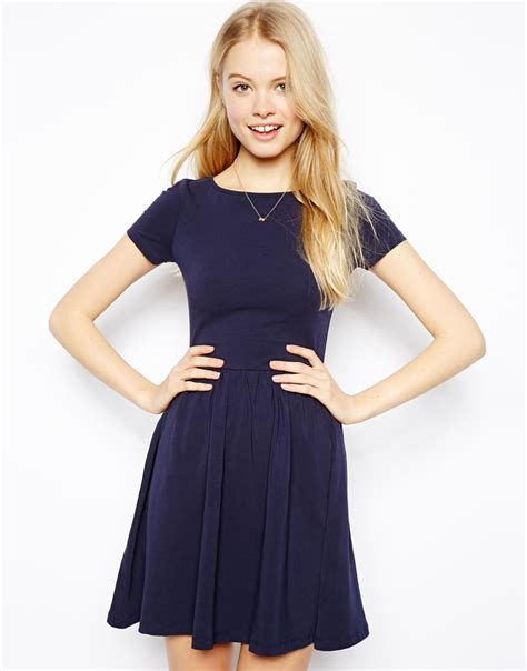 Simpple Aparel Neck Navy asos skater dress with slash neck and sleeves in blue lyst