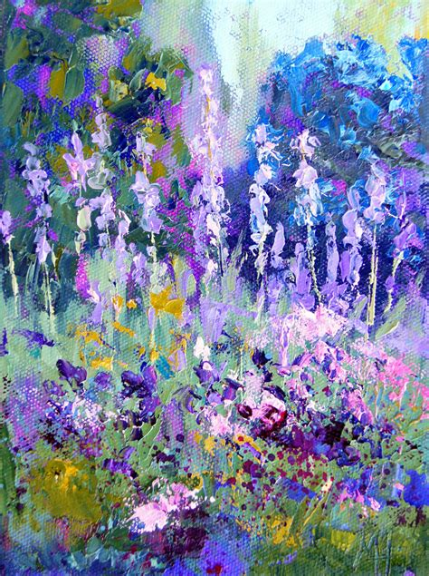 abstract garden palette knife painters impressionist garden iris