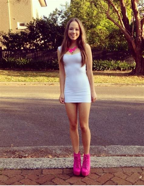 teen girl tight dress cute white with pink cutee clothes pinterest