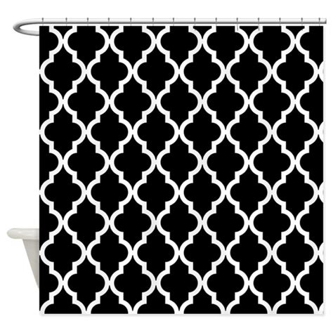 Black And White Moroccan Pattern | black quatrefoil moroccan pattern shower curtain by